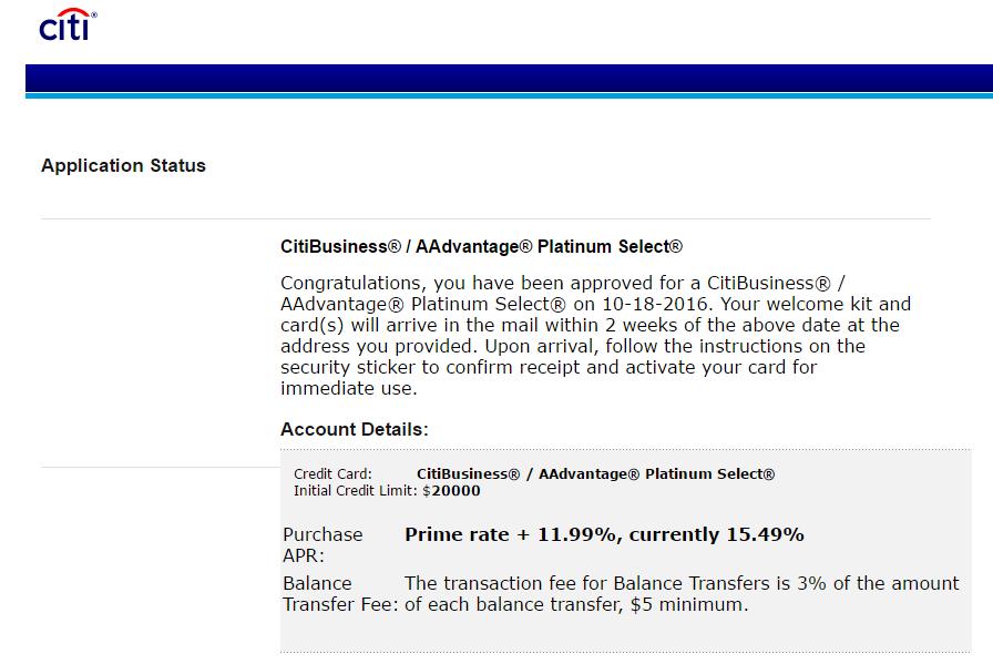 Approved for CitiBusiness AAdvantage Platinum Sele