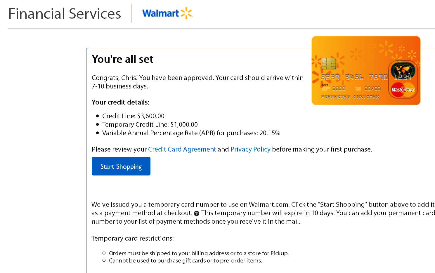 Walmart Credit Card Pre Approval >> Walmart Mc Approval And Then Cli Myfico Forums 4776499