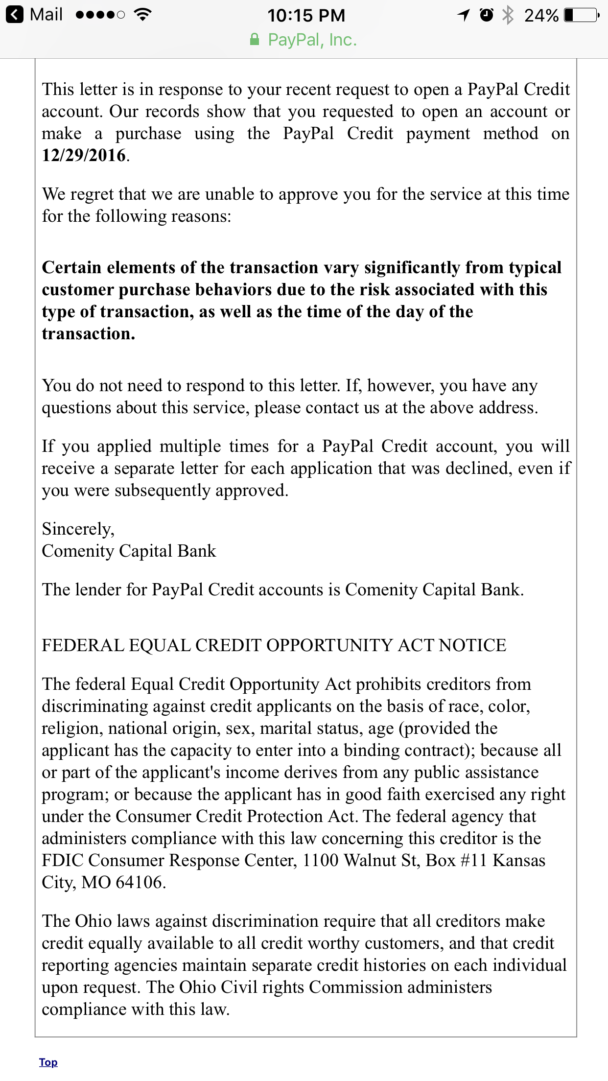 PayPal credit denial    strange reason? - myFICO® Forums