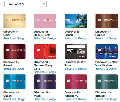 Choose a new Discover credit card design from a variety of options or request a new card quickly and easily.