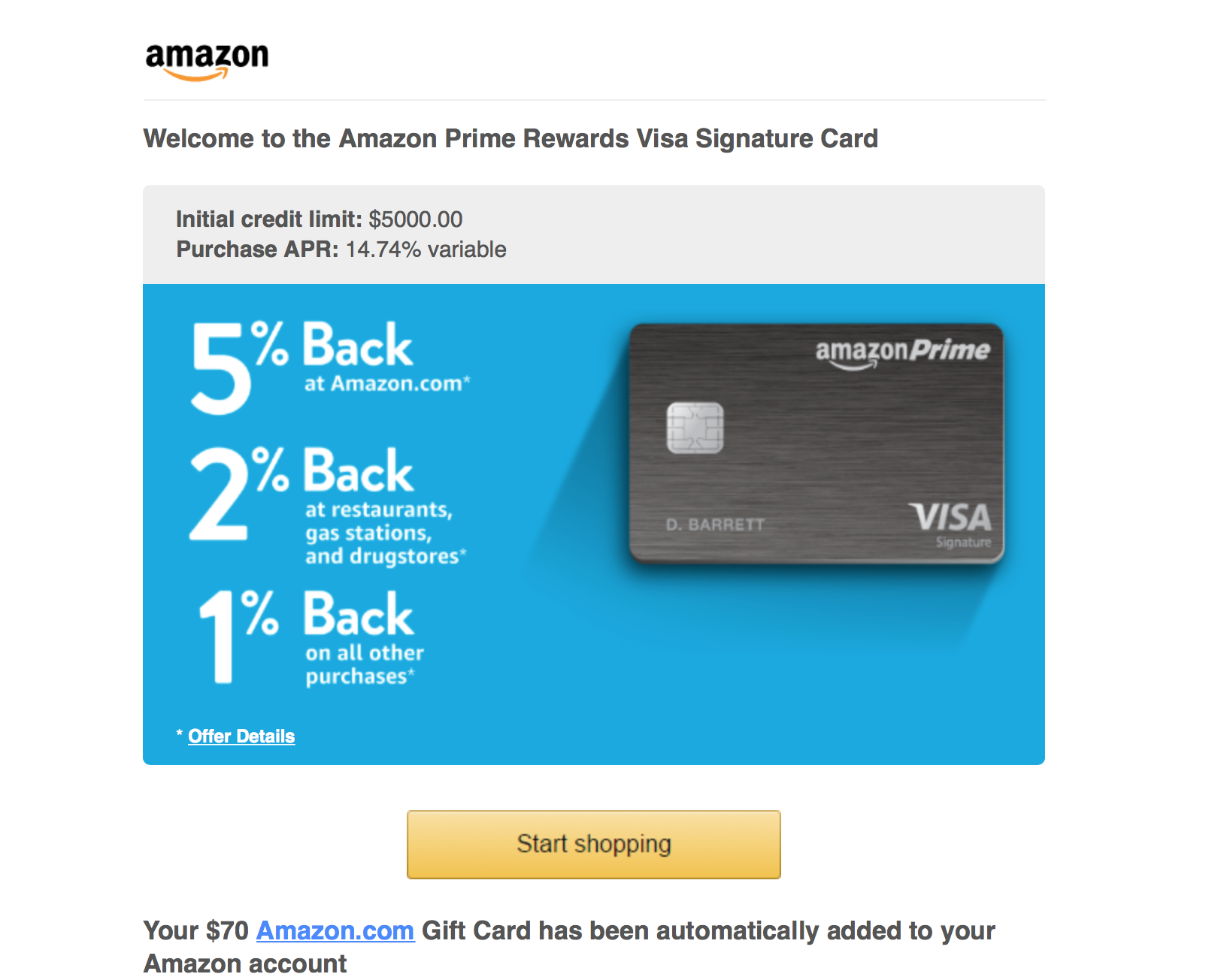 Amazon Prime Visa Signature Card Approved myFICO Forums