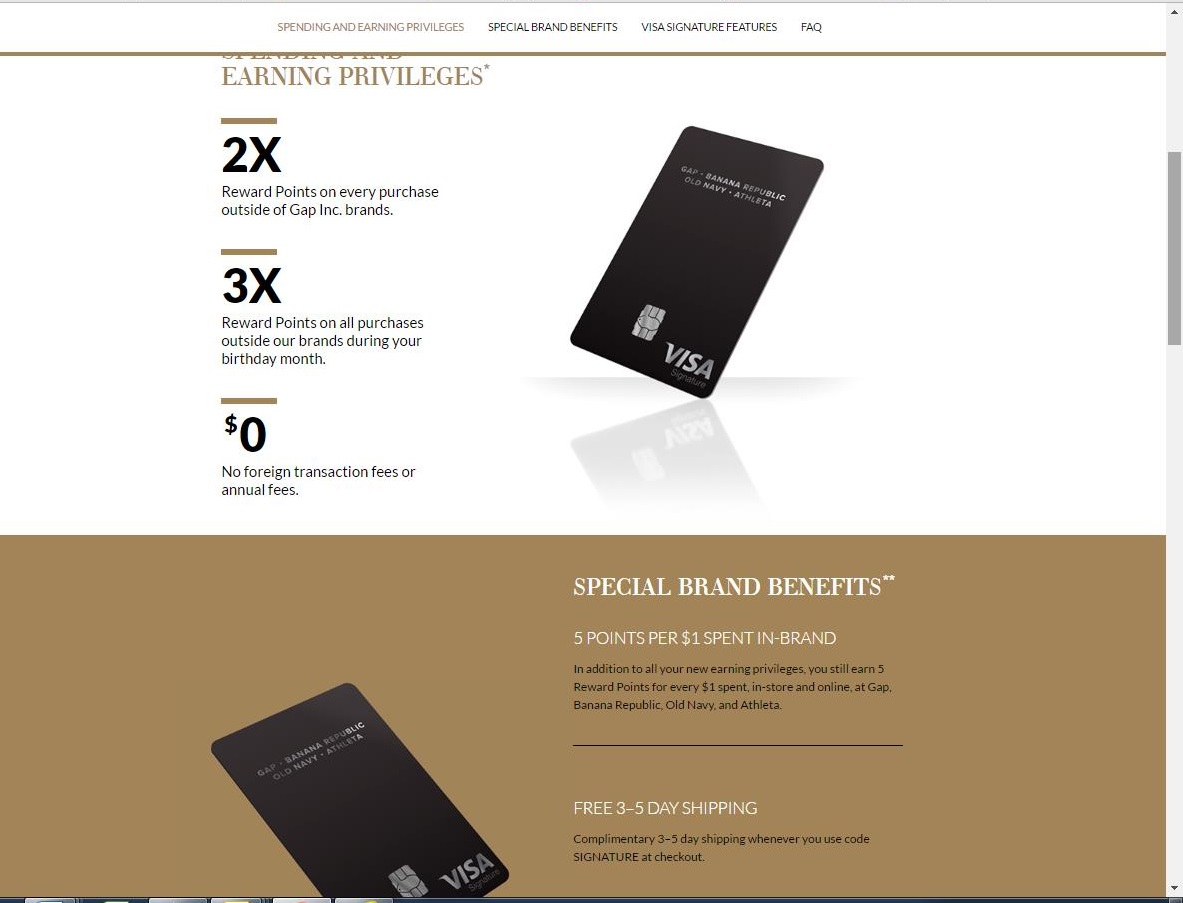 The Banana Republic Visa Credit Card is much like the Banana Republic Card, and the Banana Republic Luxe Credit Card, but it can be used anywhere Visa is accepted. You'll earn the most points for shopping at the Banana Republic and it's affiliate brands, but you'll also accumulate rewards for general shopping.