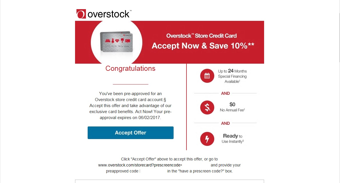 Got A Preapproval Email From Comenity Overstock To Myfico