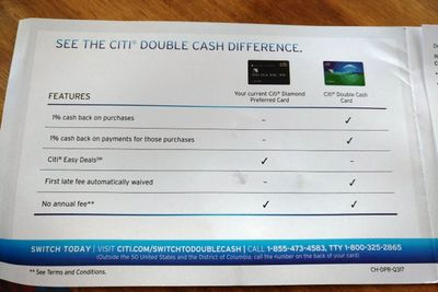 Citi Diamond switch to Double Cash offer 8/2017 - myFICO ...