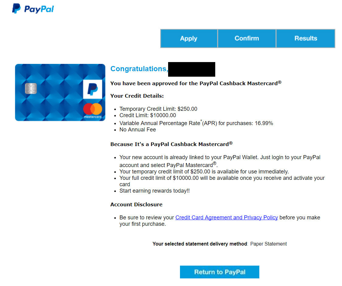 2% cash back paypal card can be upgraded from payp    - myFICO