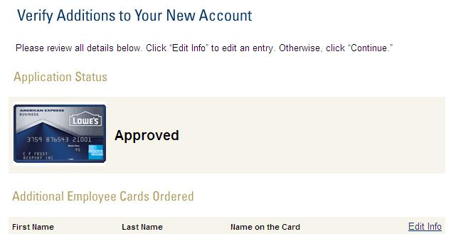 just got approved for american express lowe u0026 39 s busi