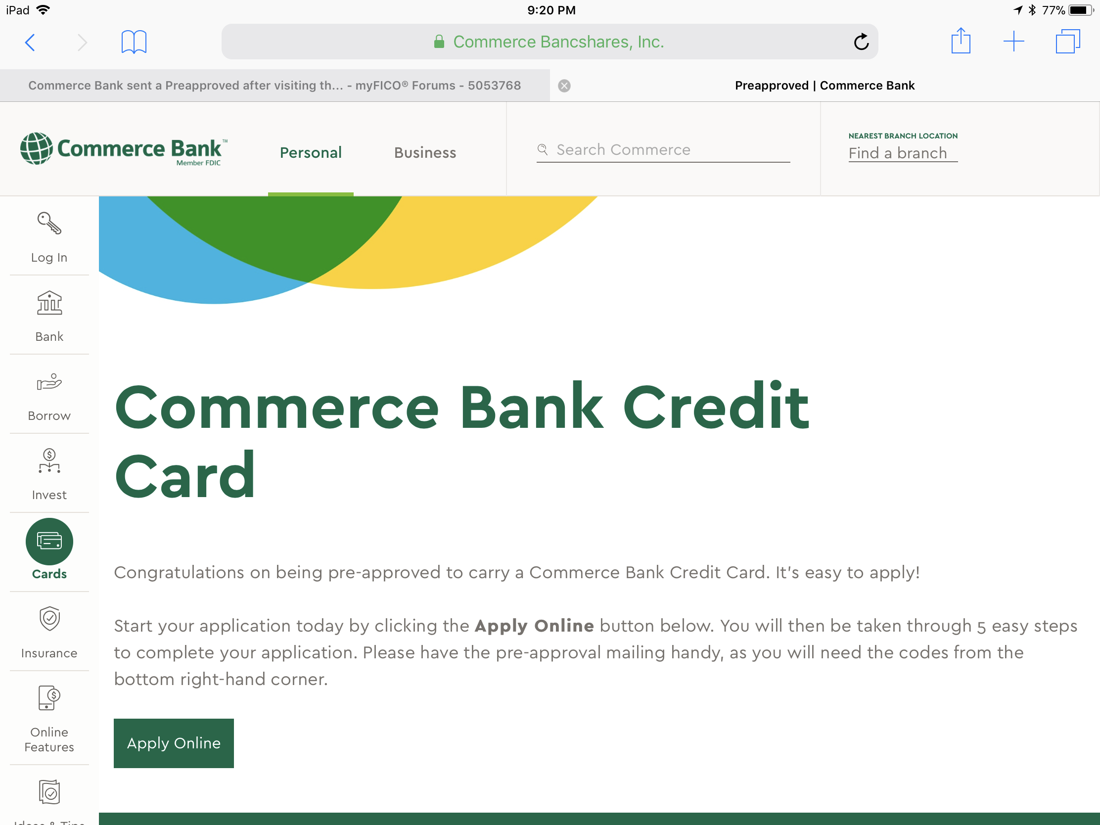 Commerce bank sent a preapproved after visiting th myfico re commerce bank sent a preapproved after visiting their site colourmoves Choice Image