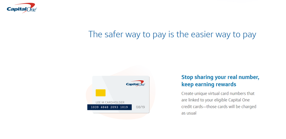 Capital One Now Offering Virtual Card Numbers - myFICO® Forums - 5092374