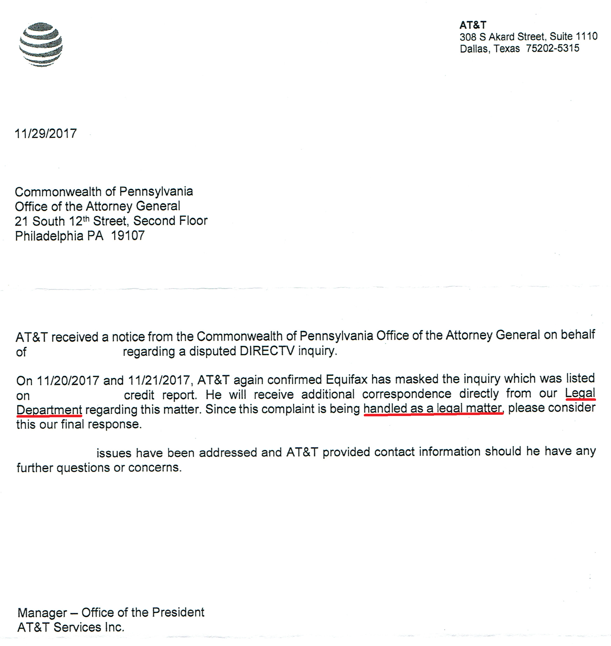 At Amp T Directv Unauthorized Credit Inquiry Myfico 174 Forums 5083016