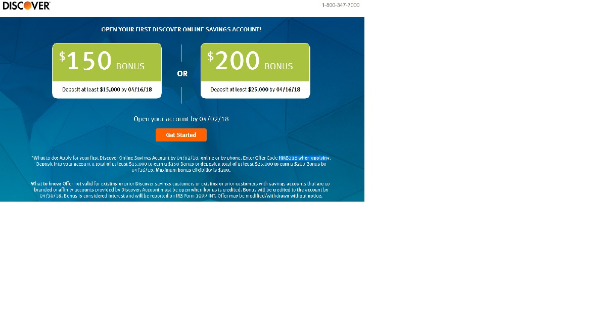 discover bank savings account offer code
