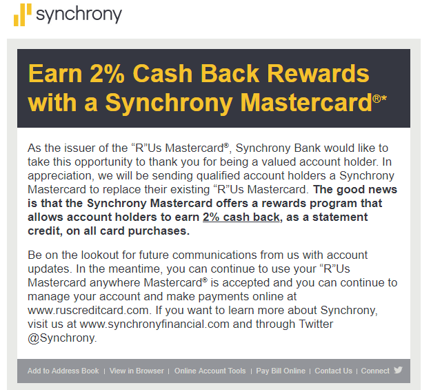 Toys 'R' Us Card to become 2% MasterCard - myFICO® Forums