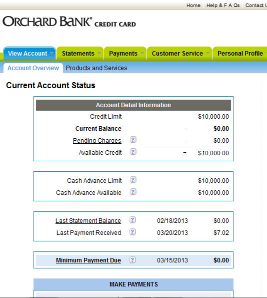 $1500 --> $10,000 Orchard Bank Card Via Cap One EO