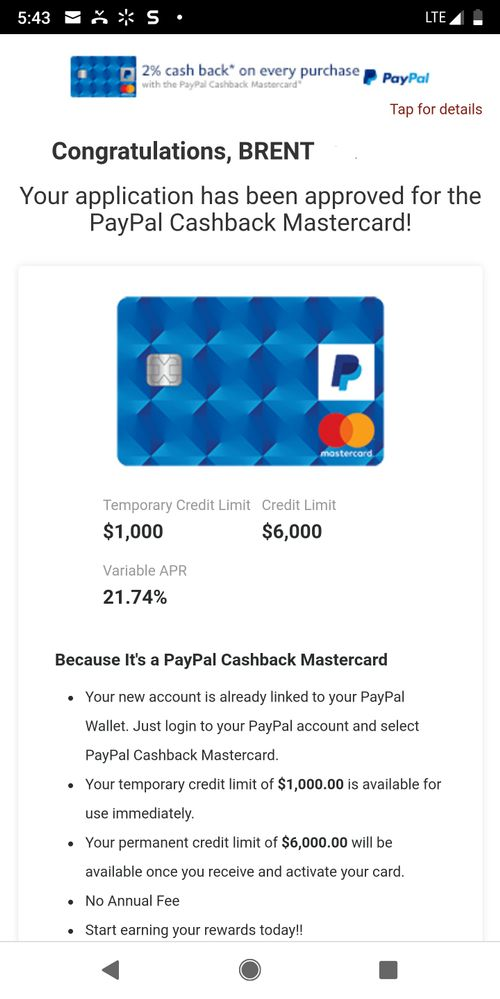 PayPal 2% card approval - myFICO® Forums - 5340614