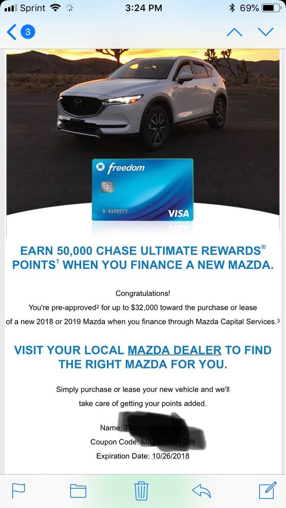 Wonderful Chase Freedom 50k Targeted Offer.