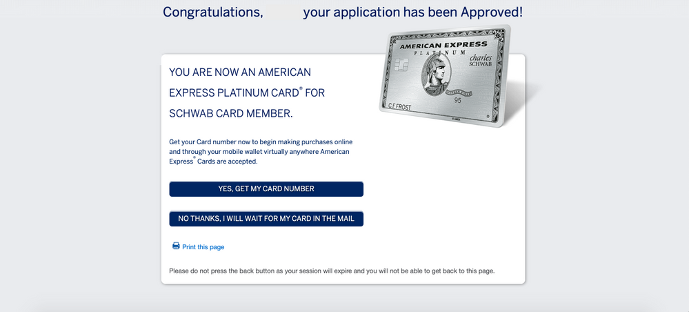 Approved | American Express Platinum for Charles S