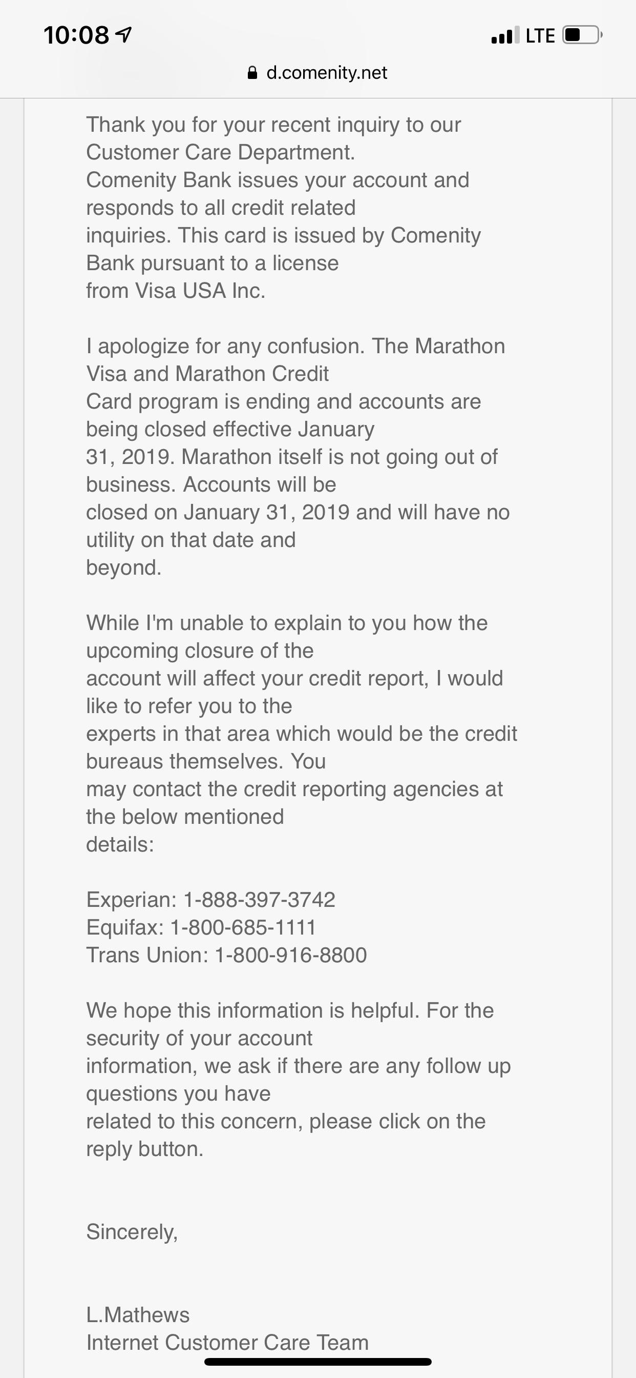 Marathon Credit Card Login >> Marathon Visa Closing January 2019 Page 3 Myfico Forums 5434996