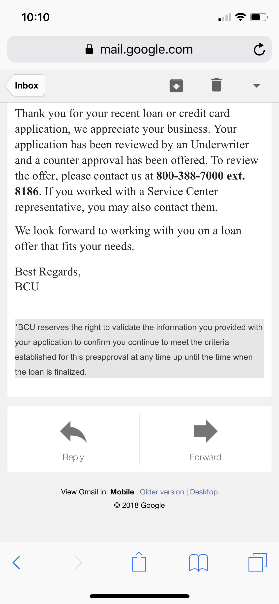 Bcu Customer Service >> Not Sure If This Is A Approval Bcu Myfico Forums 5436563
