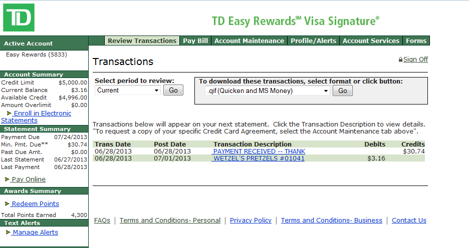 Td Visa Rewards >> Looks Like My Td Bank Easy Rewards Card Got Upgrad