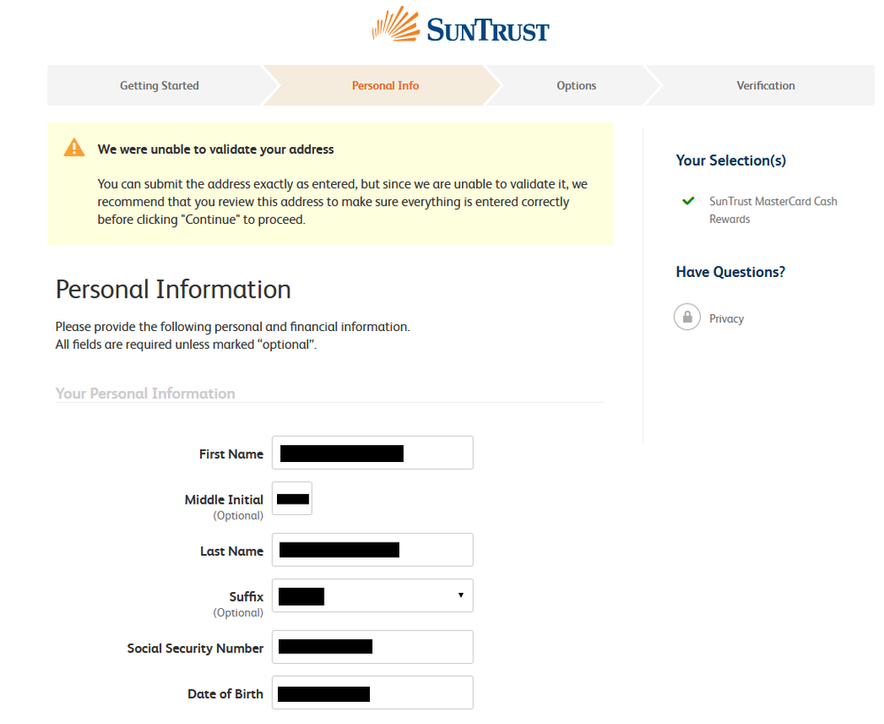 Denied for Suntrust Credit because of unable to ma