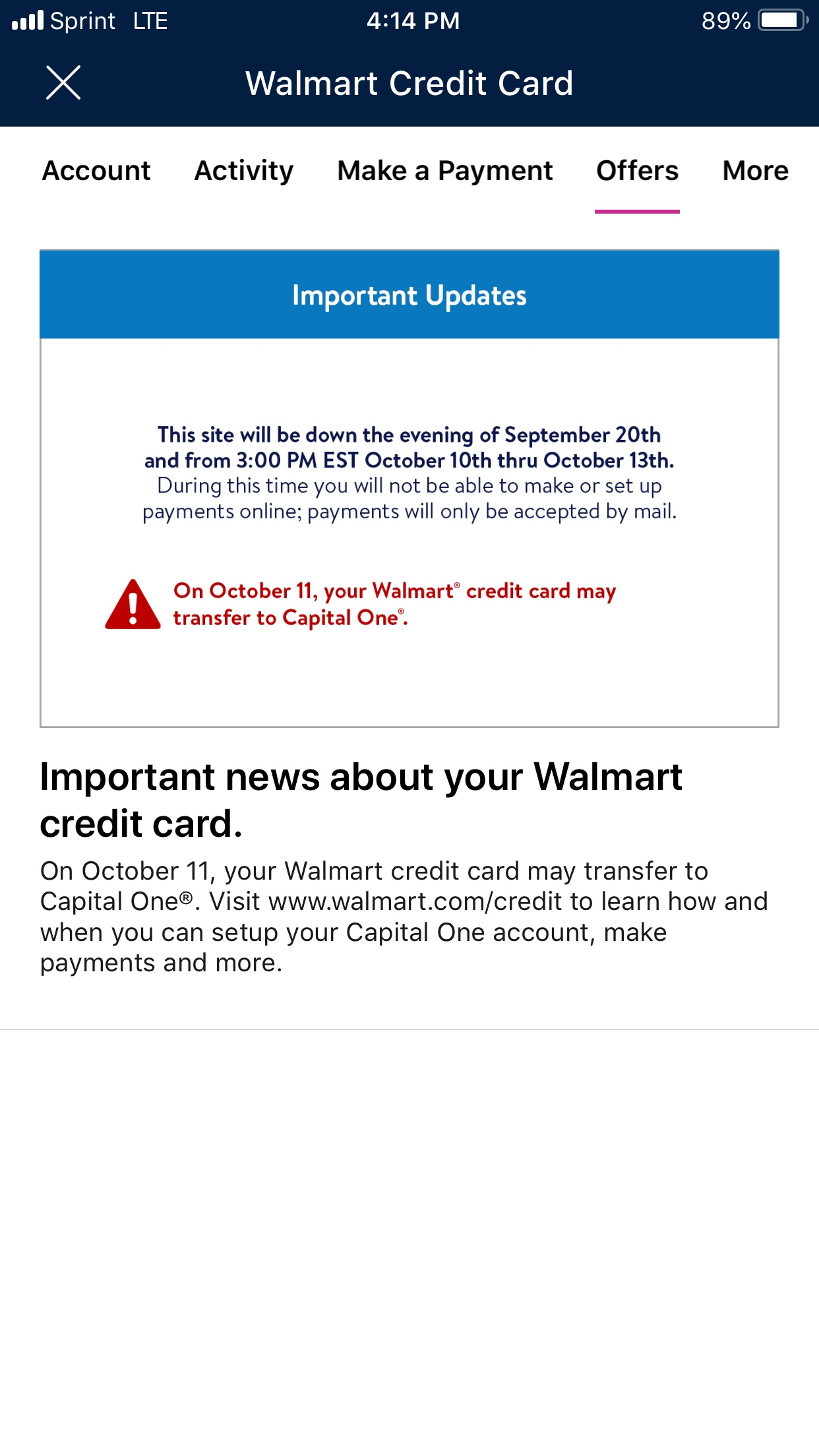 capital one walmart credit card app