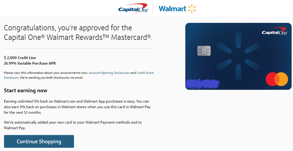 capital one walmart credit card approval