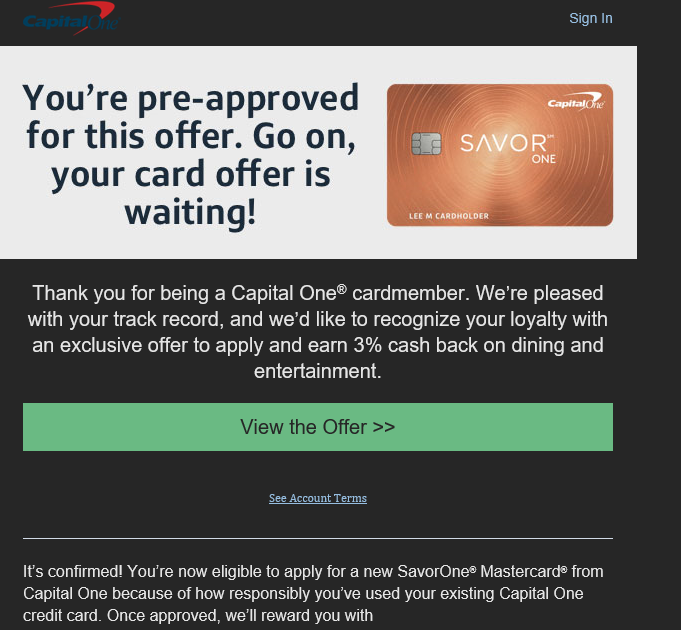 Capital one credit card pre approved offer