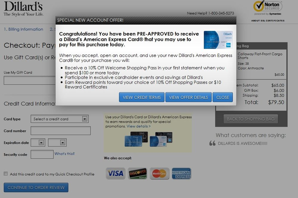 Walmart Credit Card Pre Approval >> Dillard's Shopping Cart Trick! - Page 3 - myFICO® Forums - 3121720